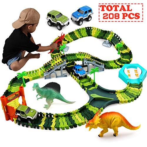 Klobroz Dinosaur Toys-208 Pieces Dinosaur Track Set-Best Gifts for 3 4 5 6 7 8 Year Old Boy, 192 PCS Flexible Tracks Playset & 2 Battery Powered Race Cars, 3 Dinosaurs (Dinosaur Car Track)