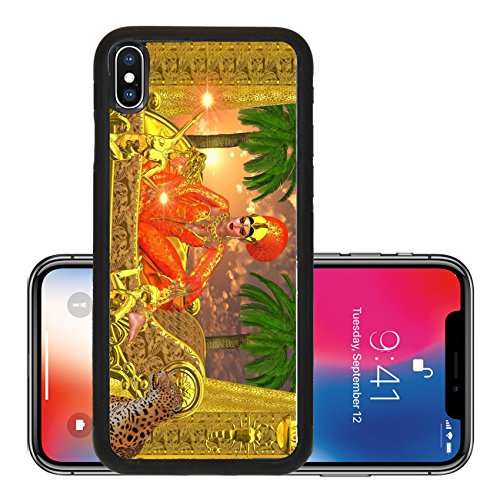 Metro Chaise Lounge (Liili Premium Apple iPhone X Aluminum Backplate Bumper Snap Case ID: 21995297 An Egyptian royal sits on her chaise lounge with golden servants one who presents her with gems while)