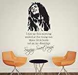 V&C Designs Large Bob Marley Singing Sweet Songs Everything's Gonna Be Alright Music Quote Children's Wall Sticker Wall Quote Lettering Vinyl Decal Mural Transfer Baby Nursery Children's Bedroom Toddler Room Geometric Playroom Decoration Wall Decor Boys Room Girls Room Various Colours Available