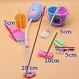 hydens Miniature Mop Dustpan Bucket Brush Housework Cleaning Tools Set Dollhouse Garden Accessories for Barbie Dolls