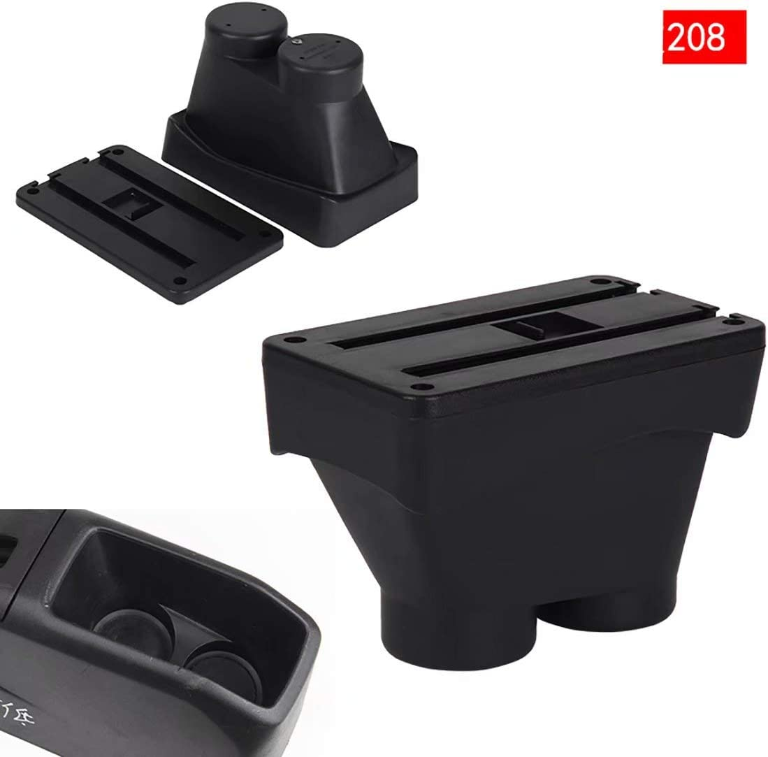 For 208 2013-2018 Armrest Box Consoles Storage with Cup Holder Ashtray