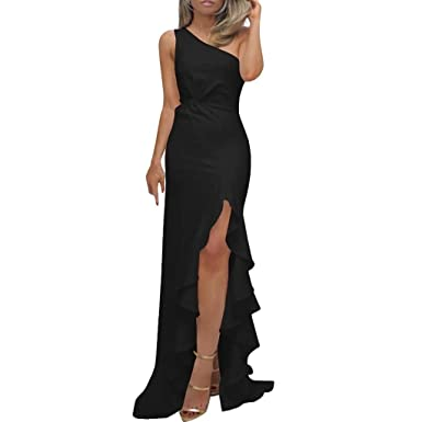 31cdf92c17f Womens Sexy One Shoulder Ruffle Ruched Side Split Evening Gown Bodycon Maxi  Party Dress Elegant Maxi