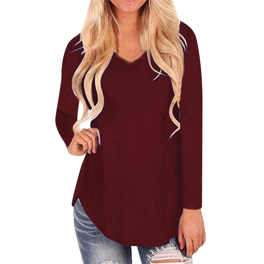 DOLDOA Womens Tops Autumn V-Neck Irregular Hem Loose Comfort Soft Casual Long Sleeve T-Shirt