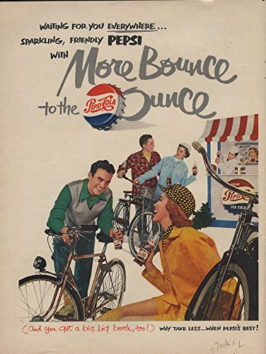 More Bounce to the Ounce Pepsi-Cola ad 1951 bicycles soda stand from The Jumping Frog