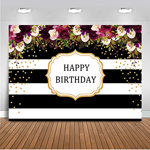 Mehofoto Happy Birthday Backdrop Red Floral Stripes Dots Birthday Photography Background 7x5ft Vinyl Women Birthday Party Banner Backdrops