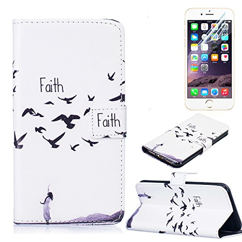 PU Cuero Carcasa para Apple 7 Funda Carcasa Resistente Protectora Leather Wallet Case Cover Shell Sunroyal ® Iphone 7 4.7