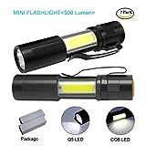 Mini Flashlight For Kids, DaskFire DF5 300 lumen Q5 LED Ultra Bright AAA Battery Flashlight+COB Penlight Multi Function Handheld Torch Light with Clip (2 Packs)