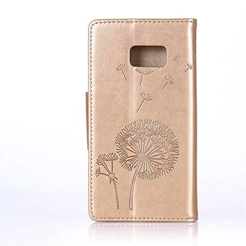 Custodia Galaxy S7 ISAKEN Cover Samsung Galaxy S7 con Strap, Elegante borsa Dente di leone Design in Pelle Sintetica Ecopelle PU Case Cover Protettiva Flip Portafoglio Case Cover Protezione Caso con S Dente di leone : gold