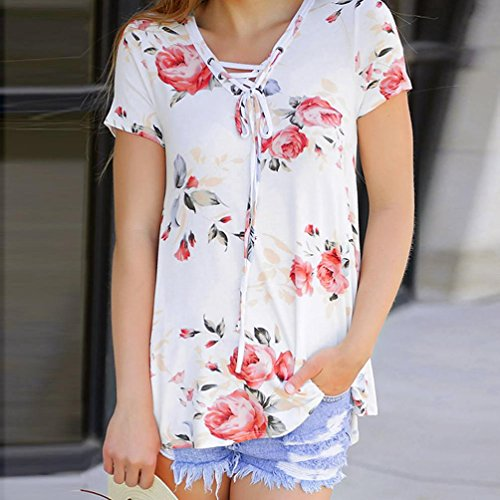 Outtop Women Fashion Floral Print Short Sleeve T-Shirts Blouses Criss Cross Tops (L, White)