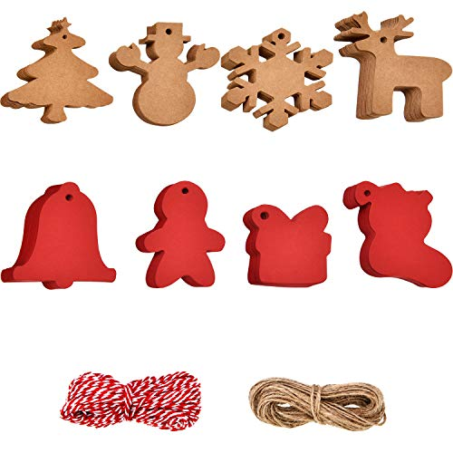 Boao 200 Pieces Kraft Paper Tags Christmas Ornaments Gift Tags with Snowflake Christmas Tree Stocking Santa Patterns and 40 Meters Twine String for Christmas Thanksgiving Holiday