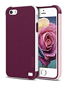 iPhone 5/5S SE Case, EXSEK Hybrid Impact Ultra Slim 3 Color Shockproof Case [Anti-Slip] [Extra Front Raised Lip] Scratch Resistant Soft Gel Bumper Rugged Case for iPhone 5/5S (Wine Red)