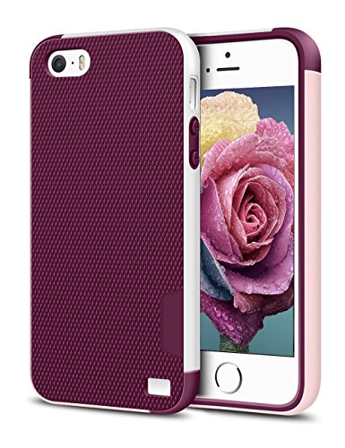 EXSEK iPhone 5/5S SE Case, Hybrid Impact Ultra Slim 3 Color Shockproof Case [Anti-Slip] [Extra Front Raised Lip] Scratch Resistant Soft Gel Bumper Rugged Case for iPhone 5/5S (Wine Red)