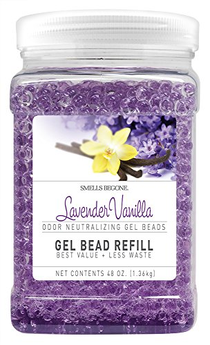 Smells Begone Odor Eliminator Gel Bead Refill - Eliminates Odor from Bathrooms, Boats, Cars, RVs and Pet Areas - Formulated with Natural Essential Oils (48 OZ) (Lavender Vanilla) ()