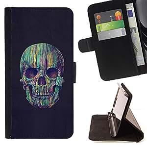 Momo Phone Case / Flip Funda de Cuero Case Cover - Cráneo colorido del trullo Vignette Negro - Samsung Galaxy S6 EDGE