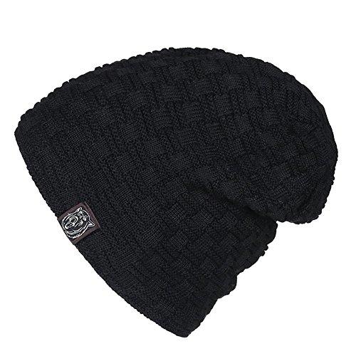 de ocio de Gorro para slouchy Black 3 caliente Moda holgados khaki punto un esquí paquete sombreros de gorro hombre de de tamaño elasticidad Invierno forrado wwOYrq