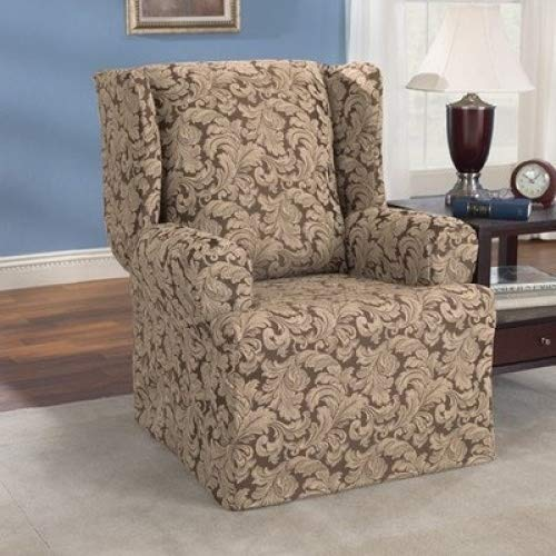 SureFit  Scroll Wing Chair Slipcover, Brown (Scroll Chair Slipcover T-cushion)