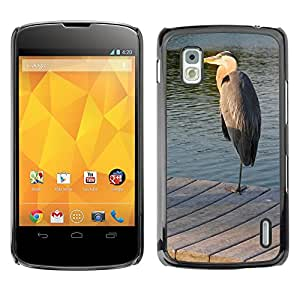 Hot Style Cell Phone PC Hard Case Cover // M00116383 Bird Egret Gray Dock Sunset Beak // LG Nexus 4 E960