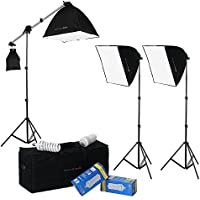 DayFlo EZ Lite 3-Fixture Lighting Kit - Portable 3 Light Portrait & Small Group Studio Setup for Photo and Video with 3x 70w bulbs, 3x 24x24 Softboxes, 2x 6ft Stands, 1x Boom Stand and 1x Travel Case