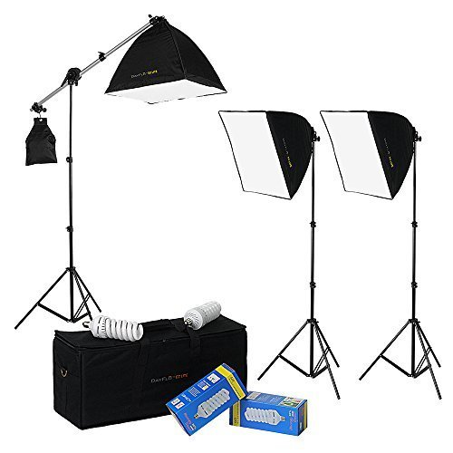 DayFlo EZ Lite 3-Fixture Lighting Kit - Portable 3 Light Portrait & Small Group Studio Setup for Photo and Video with 3x 70w bulbs, 3x 24x24 Softboxes, 2x 6ft Stands, 1x Boom Stand and 1x Travel Case by Fotodiox