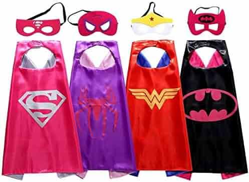 Asgift Comics Cartoon Dress Up Costumes 4 Pcs Satin Capes with Felt Masks for girls