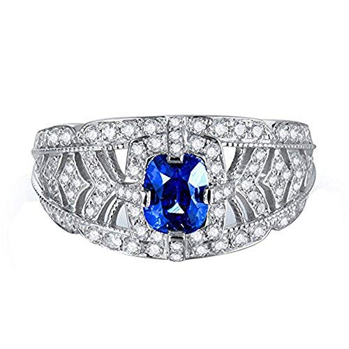 Beyond jewelry Sapphire Gemstone Engagement 14K White Gold Natural Blue Ring for Women