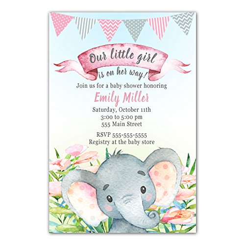30 Invitations Personalized Baby Shower Elephant Watercolor Jungle Girl Photo Paper