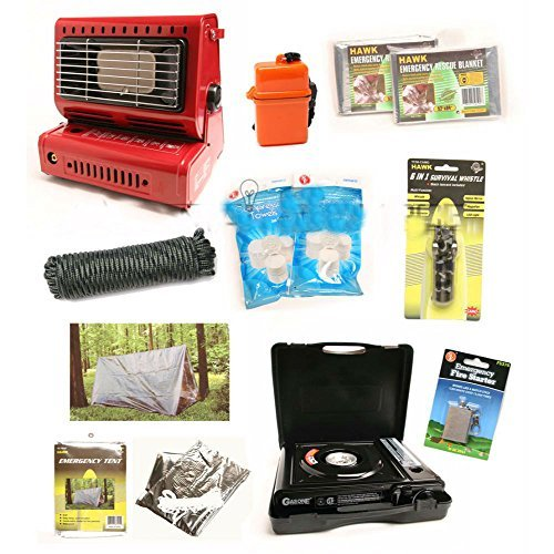 Survival Kit Emergency Camping Gear Butane Stove Heater T...