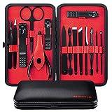 Manicura Set - 15 en 1 manicure kit acero inoxidable manicura y pedicura para mujeres y hombres profesional nail Clipper Scissors Grooming Kit con cuero negro caso de viaje