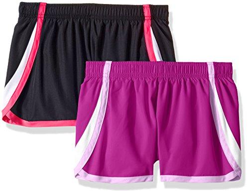 Hanes Girls' Big Sport Woven Performance Running Short (Pack of 2), Purple Cactus Flower/Black, M by Hanes