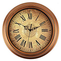 Retro Wall Clock Battery Operated Non Ticking Roman Numeral Decor Kitchen,Living Room, Distressed Brass, 12 Inch