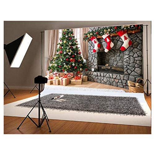 (7x5 ft Christmas Photography Backdrop for Children Christmas Tree and Three Gift Socks Hang Fireplace Photo)