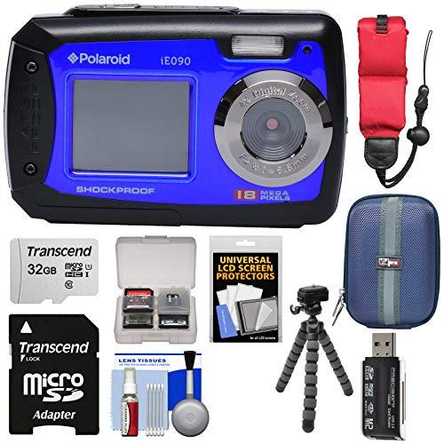Polaroid iE090 Dual Screen Shock & Waterproof Digital Camera (Blue) with 32GB Card + Case + Flex Tripod + Float Strap + Kit