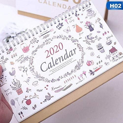 Tischkalender Kalendarien Einfache Blumen 2020 Coil Tischkalender Hinweis Englisch Kalender Memo Tagesablauf Büro-Schreibtisch-Supplies (Color : H02)