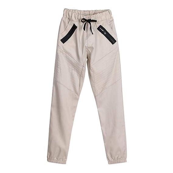 ZARLLE_Pantalones Pantalones para Hombre, Casual Hombres Pantalones Holgados Pantalones De Bolsillos con Cremallera EjéRcito SóLido