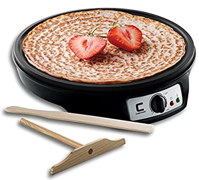 """Chefman Electric Griddle & Crepe Maker, Precise Temperature Control for Perfect Crepes, Blintzes, Pancakes, Eggs, Bacon and more, 12"""" Non Stick Grill Pan, Includes Batter Spreader & Spatula"""
