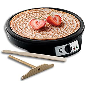 Chefman Electric Crepe Maker & Griddle Precise Temperature Control Skillet for Perfect Brunch Blintzes, Pancakes, Eggs, Bacon, Tortillas, 12″ Nonstick Grill Pan, Includes Batter Spreader & Spatula