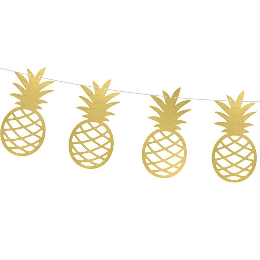 PartyDeco Girlande Ananas Gold f/ür Feste Tema Tropicale Hawaii Hawaiian