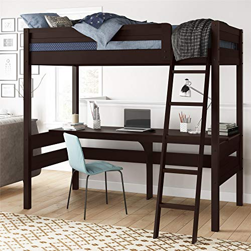 Dorel Living Harlan Wood Loft bed with Ladder and Guard Rail, Twin, Espresso (Low Ladder)