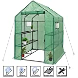 Deluxe Green House 56″ W x 56″ D x 77″ H,Walk in Outdoor Plant Gardening Greenhouse 2 Tiers 8 Shelves – Window and Anchors Include!