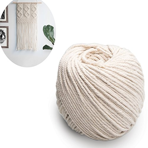 (4mm x 100m(about 109 yd)) 100% Natural Cotton Rope, CBTONE Handmade Decorations Natural Cotton Bohemia Macrame DIY Wall Hanging Plant Hanger Craft Making Knitting Cord Rope Natural Color Beige (Natural Cotton Twist Rope)