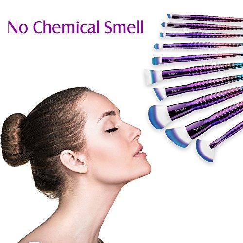 Terresa Mermaid Makeup Brushes Set - 10pcs 3D Premium Cosmetic Brushes with Face Foundation Blush Contour Eyebrow Eyeshadow Fan Brush for Daily Makeup