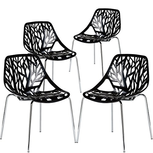 Poly and Bark Modern Mid-Century Birds Nest Dining Side Chair in Black with Chrome Legs Set of 4