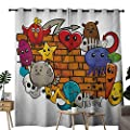 NUOMANAN Room Darkening Wide Curtains Graffiti,Cute Cartoon Animals Stars Fish Skulls Cat Bird Figures on Brick Wall Kids Design,Multicolor,Light Blocking Drapes with Liner