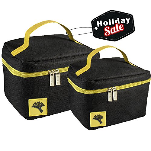 Reusable Insulated Lunch Box-Cooler Bag Set - (2 Sizes) - LeDish™ Lunch Bag for Men, Women and Kids - Locks in Heat and Cold (Bottle Holder Bag Insert compare prices)