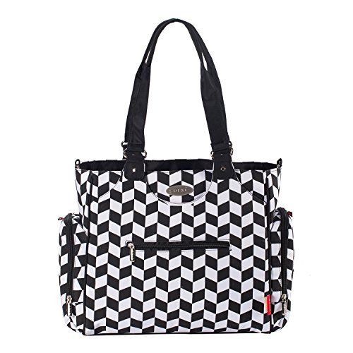 Diaper Bag for Mom | Stroller Straps, Changing Pad, Bottle Bags, Multiple Pockets, Baby Wipes Case | Large Waterproof Nappy Tote Bag | 9-Piece Complete Set | SoHo Tribeca, Black White Checkered Board