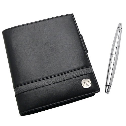 NEW+CROSS 1846 LEATHER EBONY/CARBON GREY PASSPORT WALLET ()