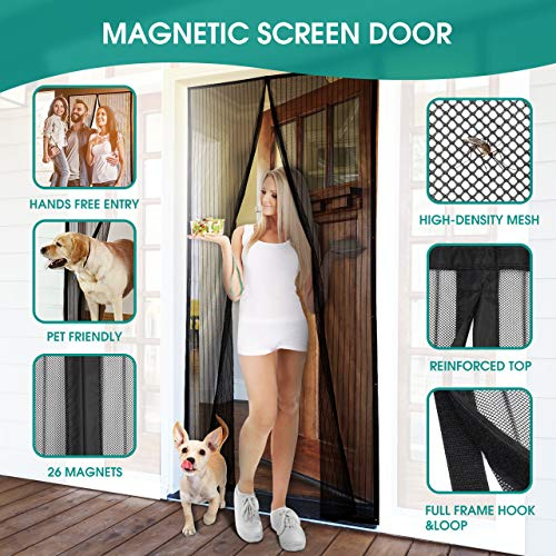 Homitt Magnetic Screen Door with Heavy Duty Mesh Curtain and Full Frame Hook&Loop Fits Door Size up to 34