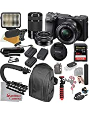 $1148 » Sony Alpha a6400 Mirrorless Camera with 16-50mm and 55-210mm Lenses, Video Bundle + LED Video Light + Microphone + Extreme Speed 64GB Memory(21pc Bundle)