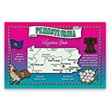 PENNSYLVANIA STATE MAP postcard set of 20 identical postcards. Post cards with PA map and state symbols. Made in USA.