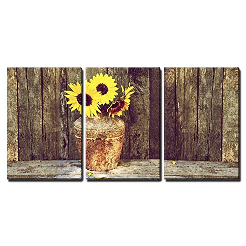 Rustic Vase with Sunflowers Wall Decor x3 Panels